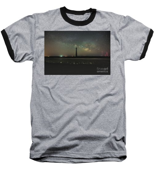 Morris Island Light House Milky Way Baseball T-Shirt
