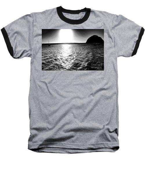 Morro Rock, Black And White Baseball T-Shirt