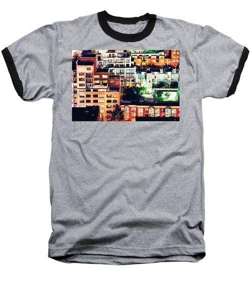 Mosaic Juxtaposition By Night Baseball T-Shirt by Amyn Nasser