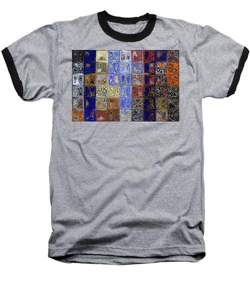 Mosaic Tile Evening Landscape. Modern Mosaic Tile Art Painting Baseball T-Shirt by Mark Lawrence