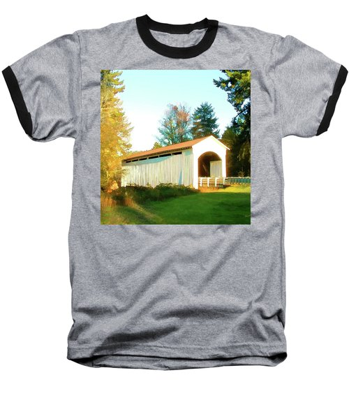 Mosby Creek Covered Bridge Baseball T-Shirt by Wendy McKennon
