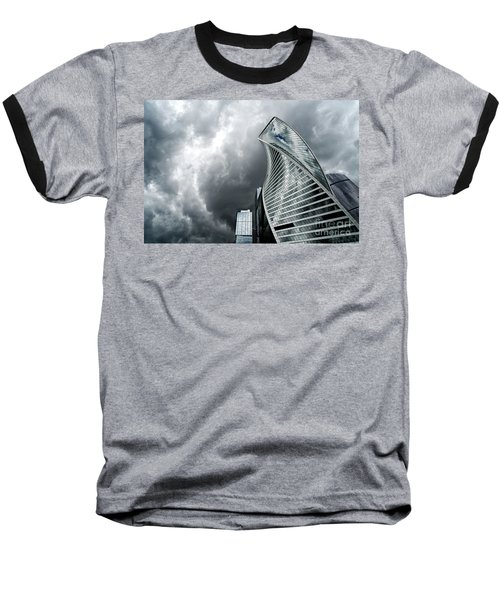 Moscow City And Storm Baseball T-Shirt by Anastasy Yarmolovich