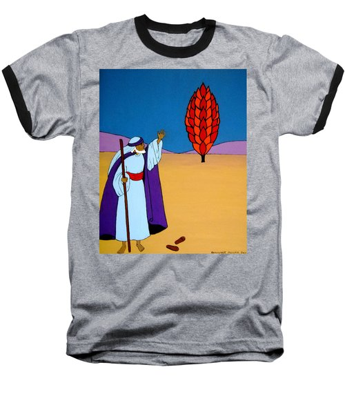 Moses And The Burning Bush Baseball T-Shirt by Stephanie Moore