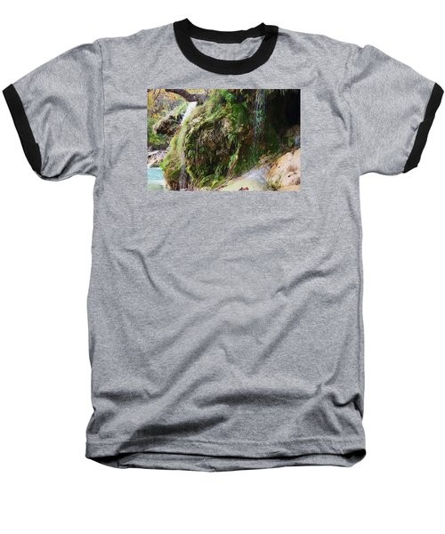 Baseball T-Shirt featuring the photograph Moss And Waterfalls by Sheila Brown