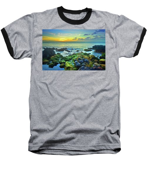 Baseball T-Shirt featuring the photograph Moss Covered Rocks At Sunset In Molokai by Tara Turner