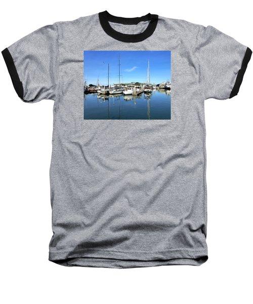 Moss Landing Harbor Baseball T-Shirt by Amelia Racca