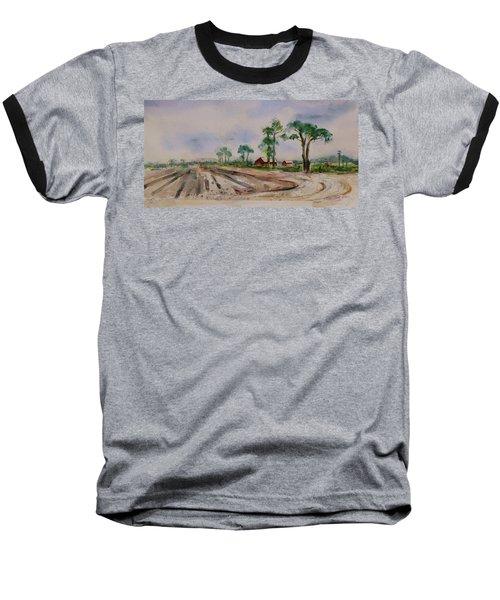 Baseball T-Shirt featuring the painting Moss Landing Pine Trees Farm California Landscape 1 by Xueling Zou
