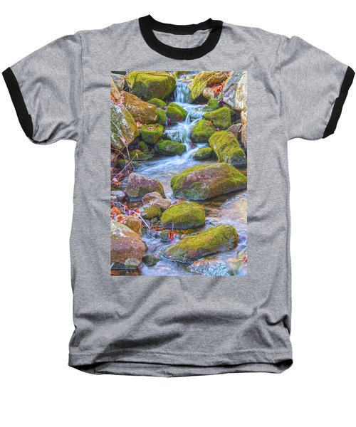 Mossy Stepping Stones Baseball T-Shirt by Angelo Marcialis