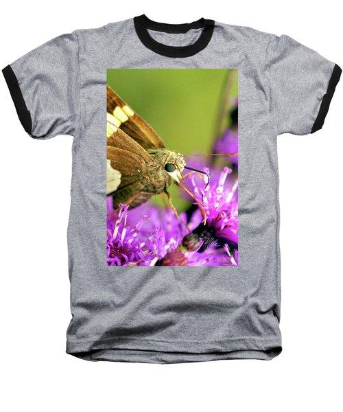 Baseball T-Shirt featuring the photograph Moth On Purple Flower by Meta Gatschenberger