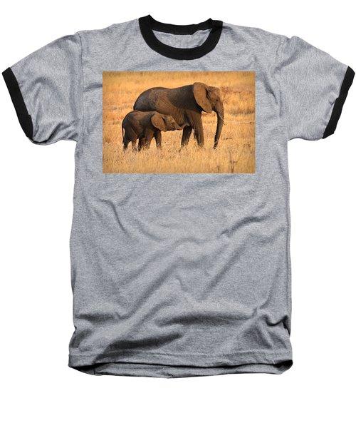 Mother And Baby Elephants Baseball T-Shirt