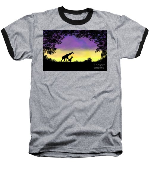 Mother And Baby Giraffe At Sunset Baseball T-Shirt