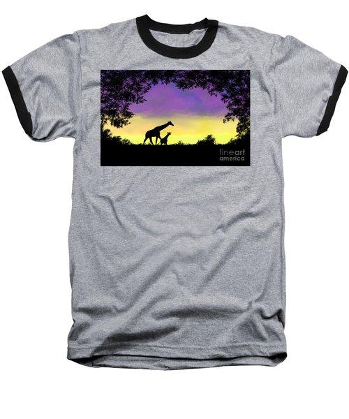 Mother And Baby Giraffe At Sunset Baseball T-Shirt