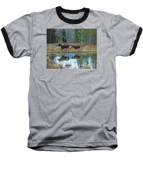 Baseball T-Shirt featuring the photograph Mother And Baby Moose Reflection by Rebecca Margraf