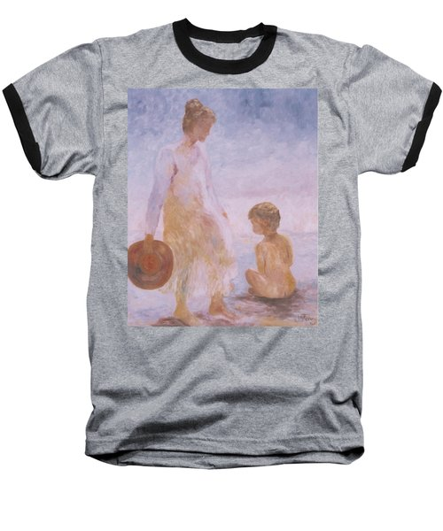 Mother And Baby On The Beach Baseball T-Shirt