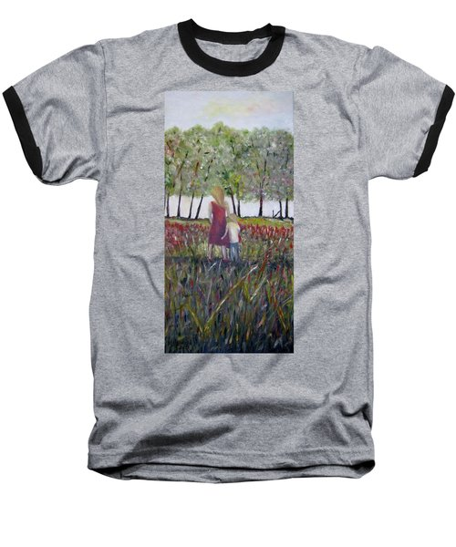 Baseball T-Shirt featuring the painting Mother And Son by Marilyn  McNish
