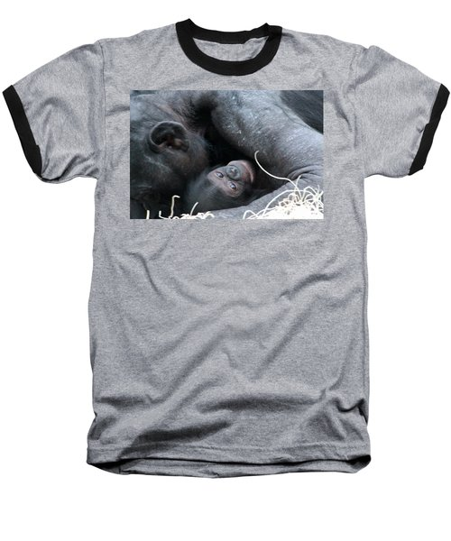 Mother Bonobo And Her Baby Baseball T-Shirt by Laurel Talabere