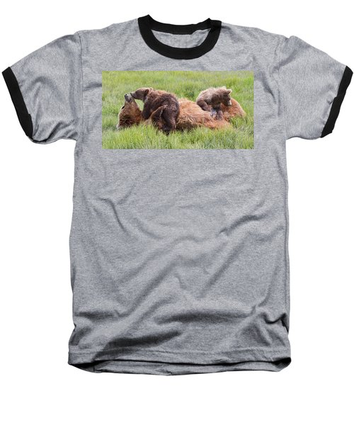 Mother Grizzly Suckling Twin Cubs Baseball T-Shirt