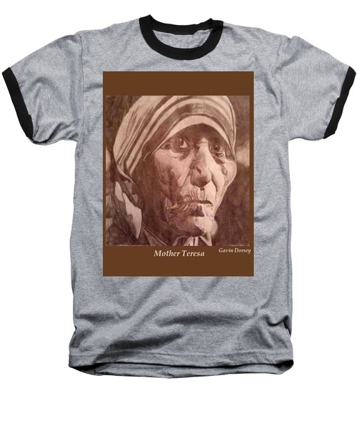 Baseball T-Shirt featuring the drawing Mother Teresa  by Gavin Dorsey