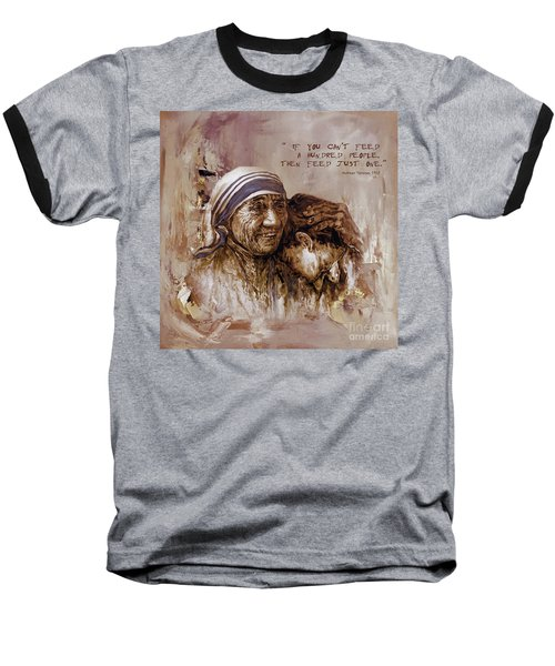 Baseball T-Shirt featuring the painting Mother Teresa Of Calcutta  by Gull G