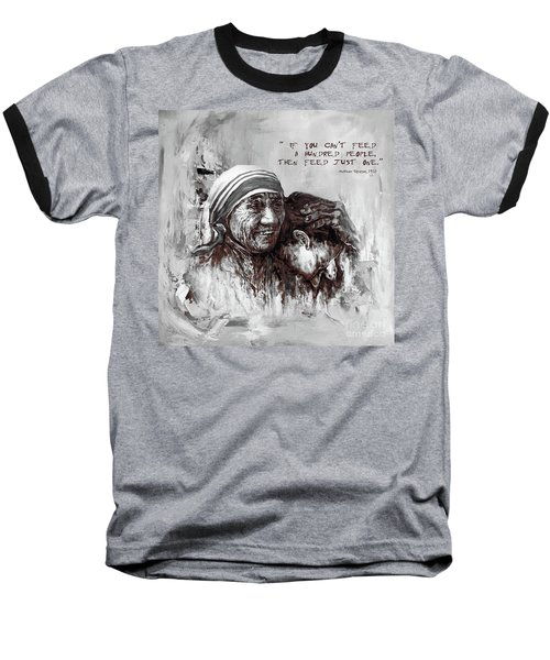 Baseball T-Shirt featuring the painting Mother Teresa Of Calcutta Portrait  by Gull G
