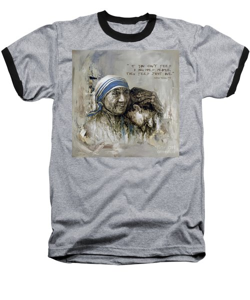 Baseball T-Shirt featuring the painting Mother Teresa Portrait  by Gull G