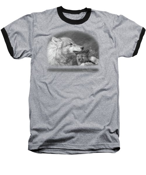 Mother's Love - Black And White Baseball T-Shirt by Lucie Bilodeau