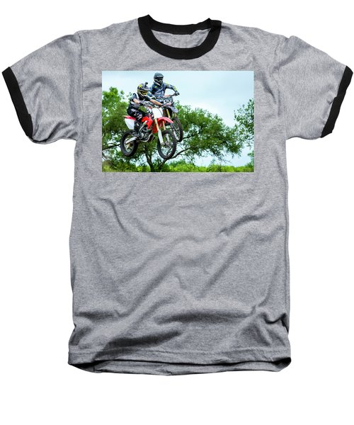 Baseball T-Shirt featuring the photograph Motocross Battle by David Morefield