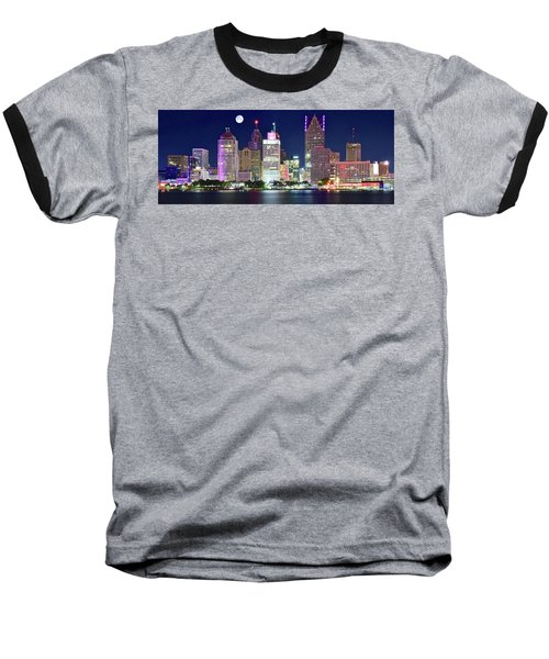 Baseball T-Shirt featuring the photograph Motor City Night With Full Moon by Frozen in Time Fine Art Photography