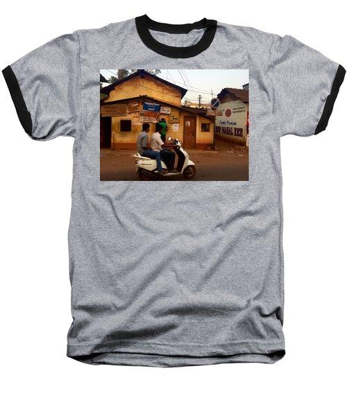 Motorbike Crossing Goa Times Newstand Baseball T-Shirt