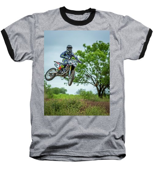 Baseball T-Shirt featuring the photograph Motocross Aerial by David Morefield