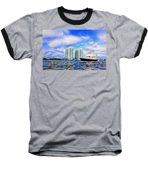 Motoring Past The Marina Grande Baseball T-Shirt by Alice Gipson