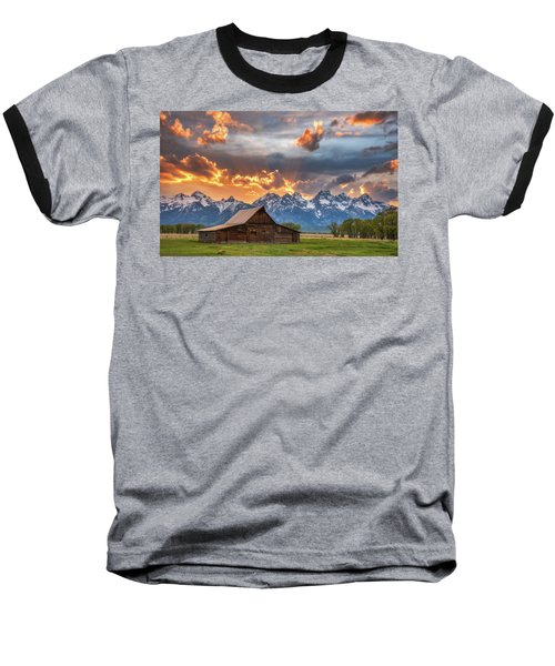 Moulton Barn Sunset Fire Baseball T-Shirt