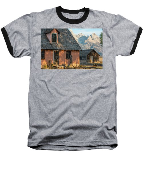 Baseball T-Shirt featuring the photograph Moulton Homestead - Pink House At Morning Light by Colleen Coccia