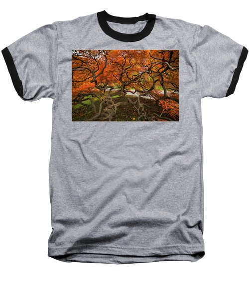 Mount Auburn Cemetery Beautiful Japanese Maple Tree Orange Autumn Colors Branches Baseball T-Shirt
