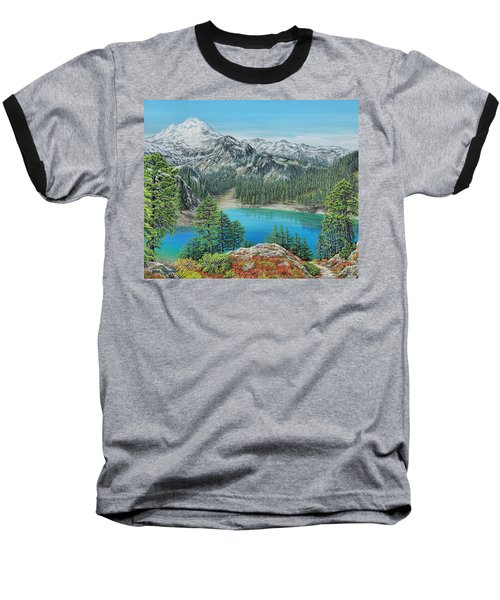 Baseball T-Shirt featuring the painting Mount Baker Wilderness by Jane Girardot