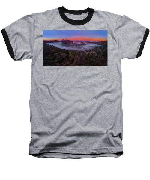 Mount Bromo Misty Sunrise Baseball T-Shirt