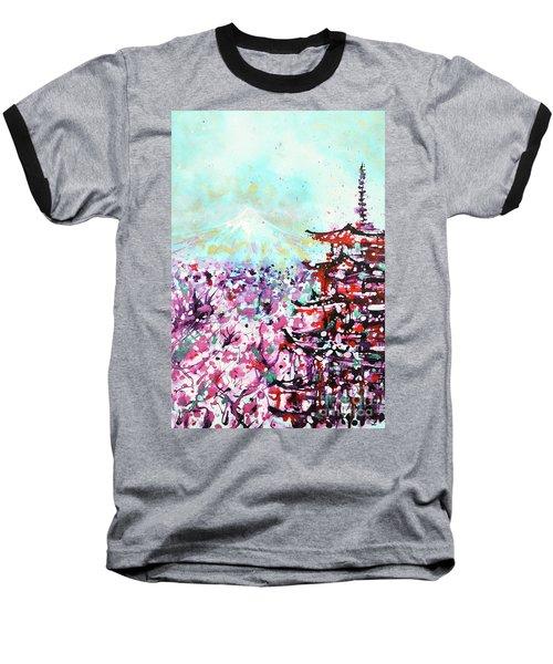 Baseball T-Shirt featuring the painting Mount Fuji And The Chureito Pagoda In Spring by Zaira Dzhaubaeva