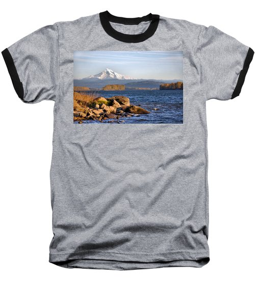 Mount Hood And The Columbia River Baseball T-Shirt by Jim Walls PhotoArtist