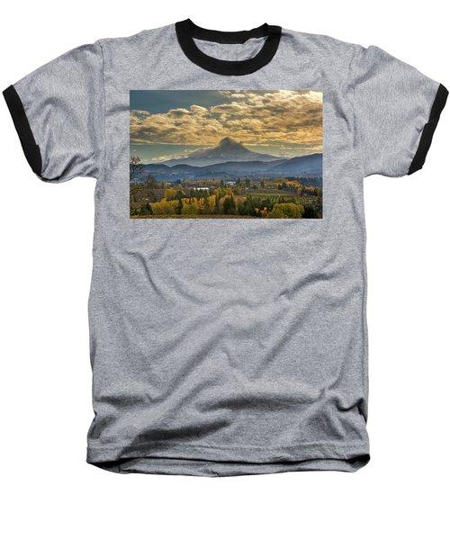 Mount Hood Over Farmland In Hood River In Fall Baseball T-Shirt