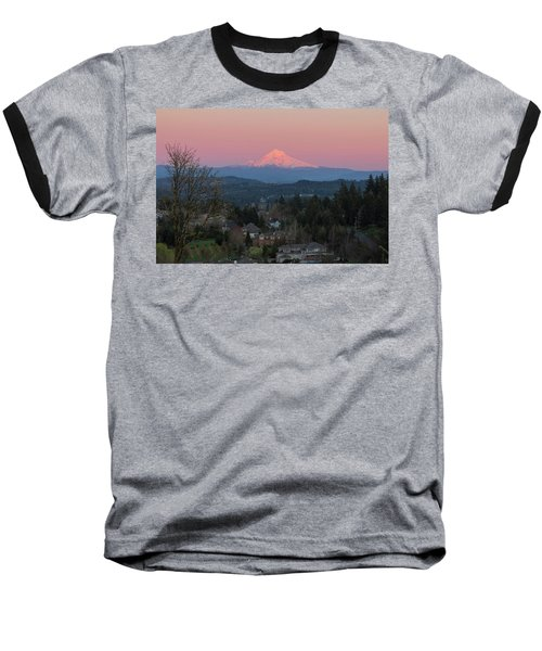 Mount Hood Over Happy Valley Oregon Baseball T-Shirt