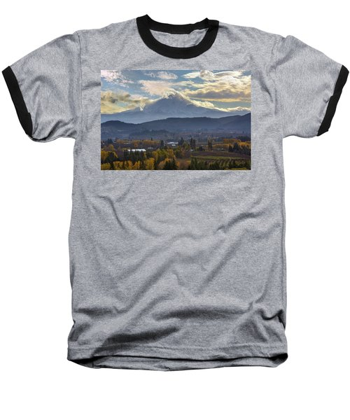 Mount Hood Over Hood River Valley In Fall Baseball T-Shirt
