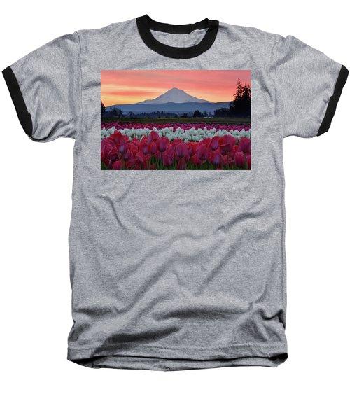 Mount Hood Sunrise With Tulips Baseball T-Shirt