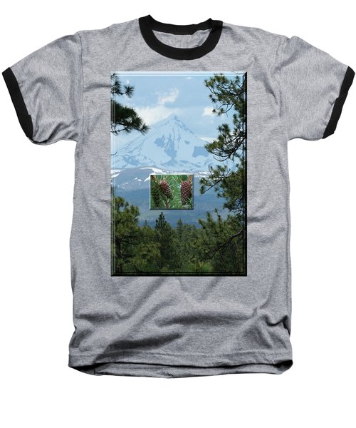 Mount Jefferson With Pines Baseball T-Shirt
