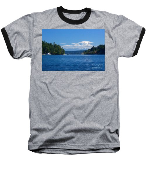 Mount Rainier Lenticular Baseball T-Shirt by Sean Griffin