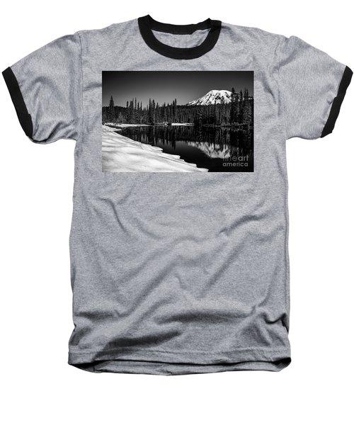 Mount Rainier Reflection Baseball T-Shirt