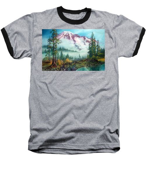 Baseball T-Shirt featuring the painting Mount Rainier by Sherry Shipley