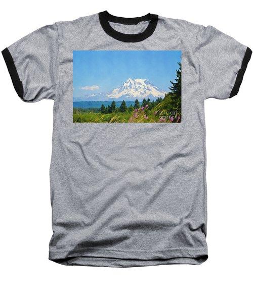 Mount Rainier Watercolor Baseball T-Shirt
