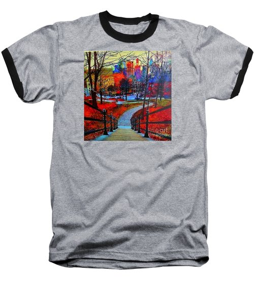 Baseball T-Shirt featuring the painting Mount Royal Peel's Exit by Marie-Line Vasseur