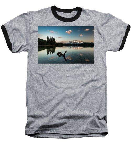 Mount Rundle And Two Jack Lake Baseball T-Shirt