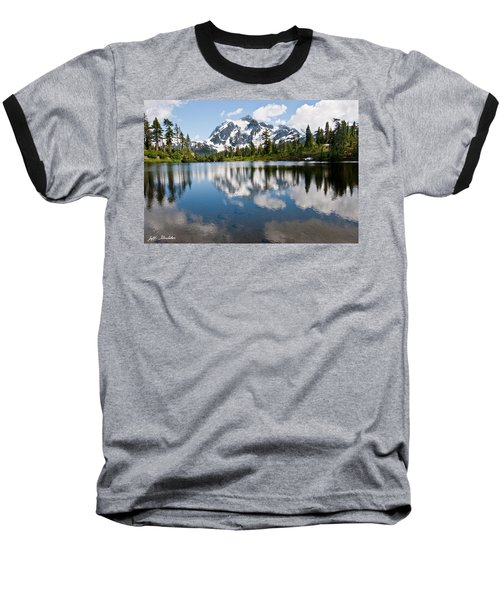 Mount Shuksan Reflected In Picture Lake Baseball T-Shirt by Jeff Goulden